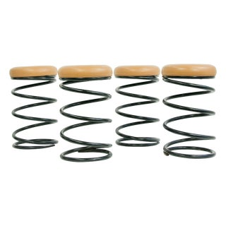 Set of Four Coil Spring Bar Stools For Sale