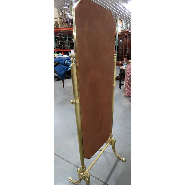 Glass Hollywood Regency Style Cheval Mirror For Sale - Image 7 of 9