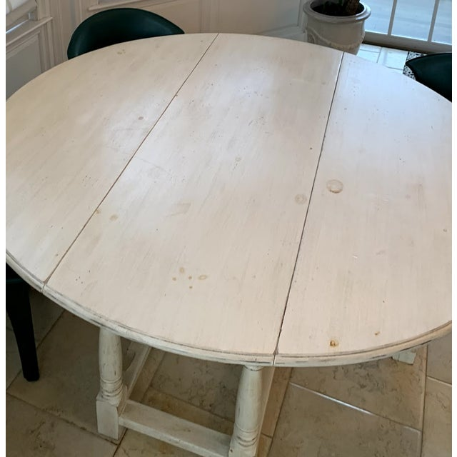 1990s 1990s Shabby Chic Natural Wood Round Dinning Table For Sale - Image 5 of 9