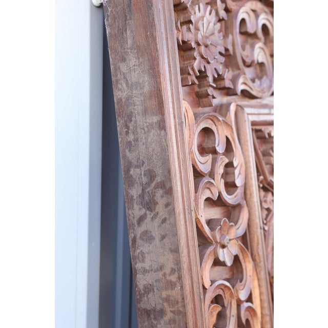 1880s Carved Solid Teak Wood Ceiling From Temple in Deccan For Sale - Image 9 of 11