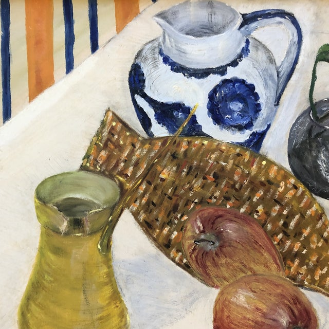 Expressionism Vintage Original Still Life Painting Mid Century Modern For Sale - Image 3 of 5