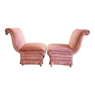 Curvilinear Pink Slipper Chairs- Pair For Sale