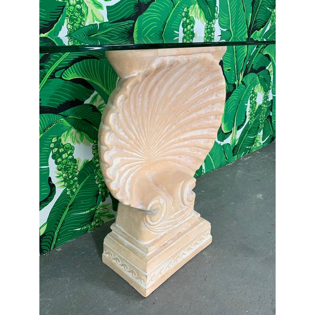 Edward Wormley Hollywood Regency Shell Form Console Table After Edward Wormley For Sale - Image 4 of 8