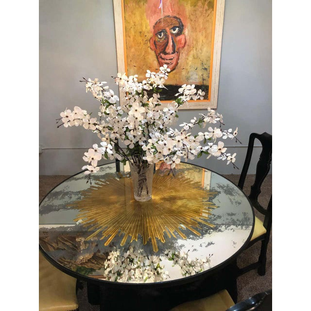 Monumental Gilt Gold & Silver Glass Sunburst Mirrors or Table Top Pair For Sale - Image 9 of 13