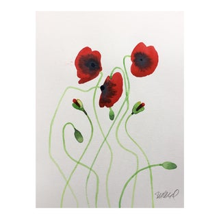 Poppy Red Vine a Original Watercolor on Caslon Paper For Sale