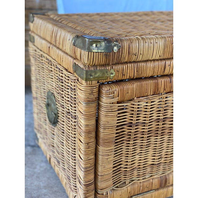 Vintage Coastal Wicker Braid Drop Down Front Trunk For Sale - Image 9 of 13