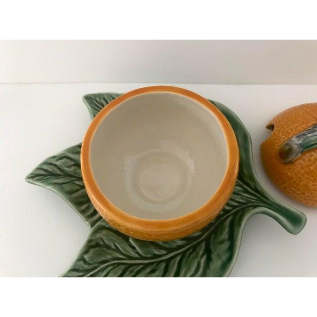 Ceramic Bordallo Pinheiro Majolica Orange Marmalade Jar With Green Leaf Under Plate For Sale - Image 7 of 9
