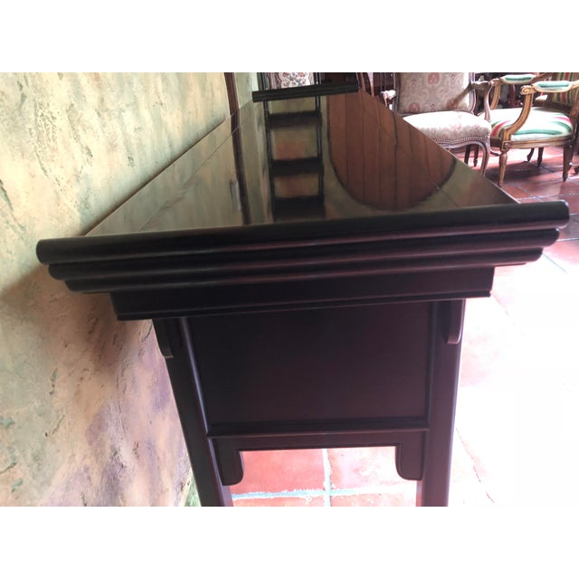 1990s Asian Century Furniture Black Lacquer Altar Console Table For Sale In Chicago - Image 6 of 13