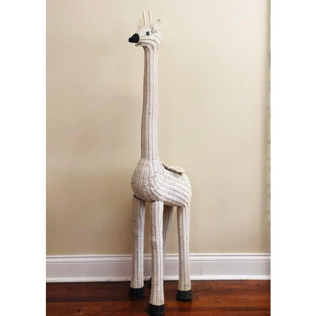 Vintage White Wicker Giraffe Planter For Sale - Image 12 of 12