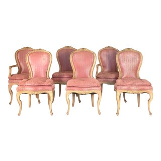 Set of Six Louis XVI Style Painted Dining Chairs For Sale