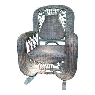 Beaded Green & Red Woven Wicker Rocker For Sale