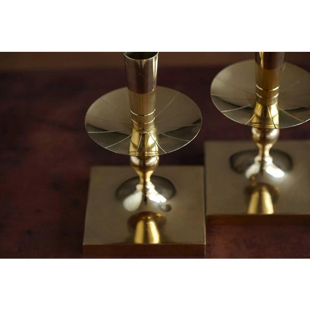 Pair of Tommi Parzinger Brass Candleholders Made by Dorlyn Silversmiths For Sale In New York - Image 6 of 7