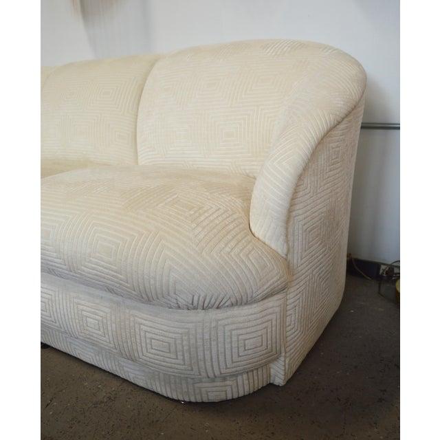 Memphis 1980s Weiman White Velvet Cloud Three Seater Sofa For Sale - Image 3 of 5