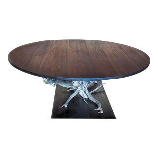 Large Walnut & Steel Dining Table For Sale