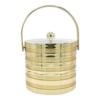 Vintage Culver 3qt Gold Stripe Ice Bucket With Original Box For Sale