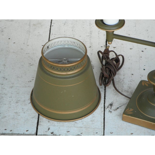 Vintage Sage Green Tole Desk Lamp For Sale - Image 7 of 8