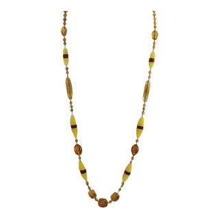 Art Deco Amber & Frosted Yellow Glass Flapper Sautoir Necklace For Sale
