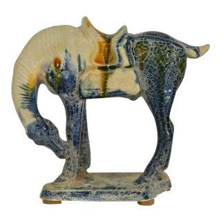 Vintage Majolica Chinese Sancai Horse Figurine For Sale