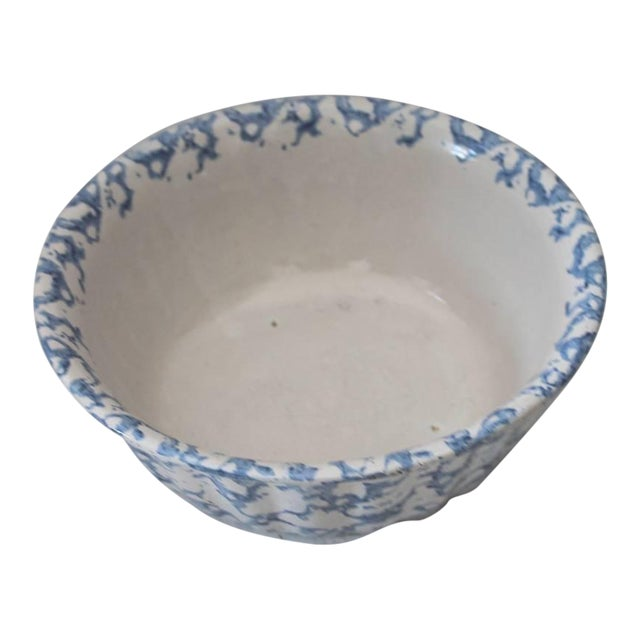 19th Century Sponge Ware Pottery Serving Bowl For Sale
