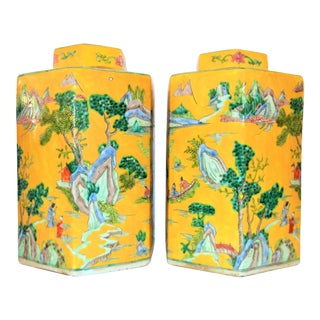 Vintage Chinoiserie Large Tea Jars - a Pair For Sale