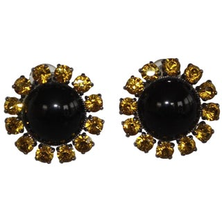 Philippe Ferrandis Black and Yellow Button Clip Earrings For Sale