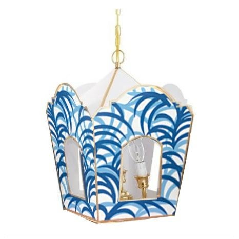 Neoclassical Revival Dana Gibson Blue Palm Lantern - a Pair For Sale - Image 3 of 4