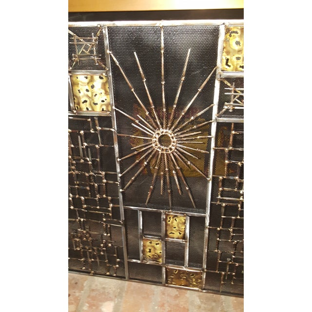Brutalist Welded Sculptural Fireplace Screen - Image 4 of 9
