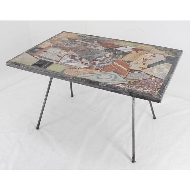 Marquetry Marble Coffee Table: Fine Multiple Stone Slate Marble Inlay Mosaic Top Side