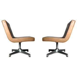Vintage 1970s Techfab Chromcraft Latte Lounge Chairs For Sale