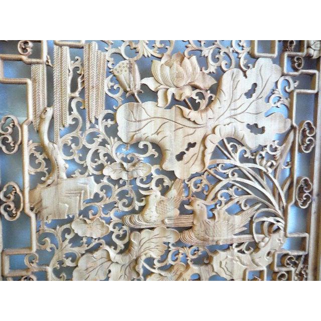 Lotus & Birds Wood Wall Plaque - Image 2 of 5