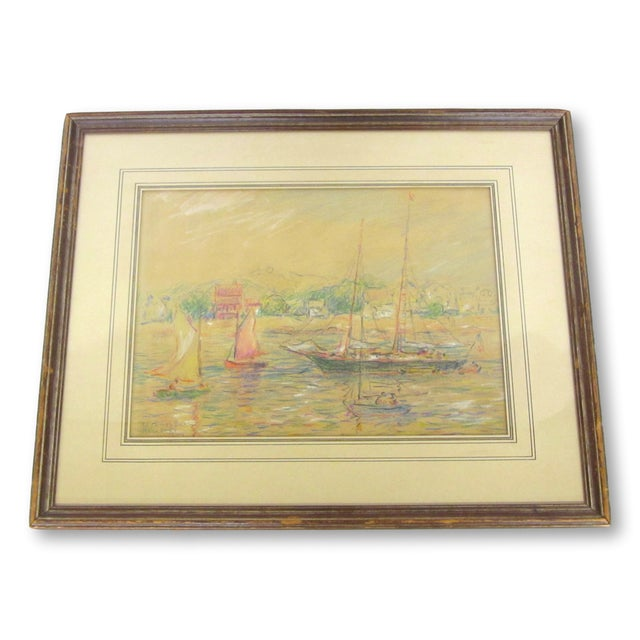 "Details: Original crayon drawing on artist's board by Reynolds Beal (1867-1951). Titled ""Rockport"", signed, dated in the..."