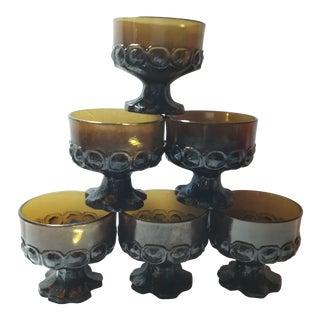1960s Dark Brown Stemmed Parfaits - Set of 6 For Sale