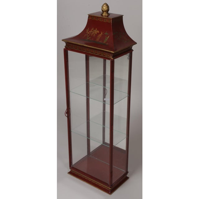 Chinoiserie Red Painted Tole Hanging or Standing Shelf - Image 4 of 5