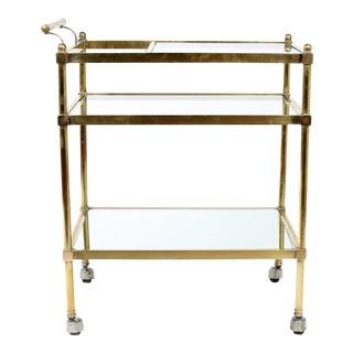 Mid 20th Century Vintage Bras Set of Glass Three Tiered Bar Cart For Sale