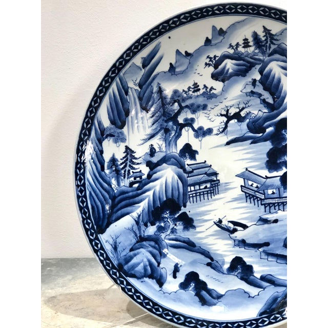 19th Century Large Imari Blue and White Charger, Japan 19th Century For Sale - Image 5 of 6