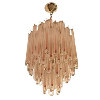 Tubular Modern Mid-Century Clear and Amber Glass Chandelier For Sale