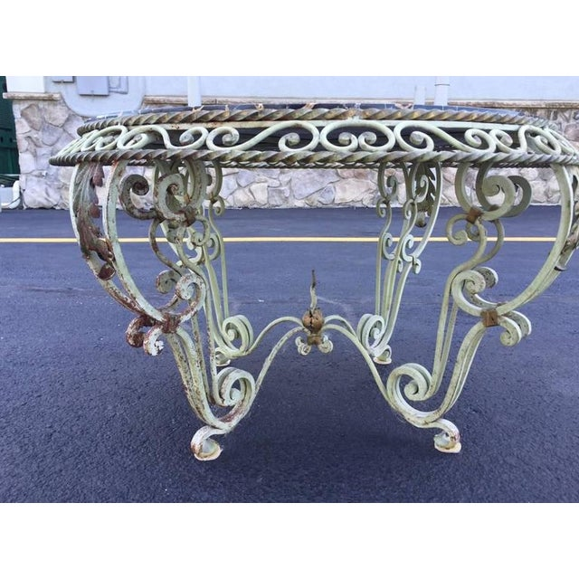 French Painted Wrought Iron Marble-Top Coffee Table For Sale - Image 3 of 7