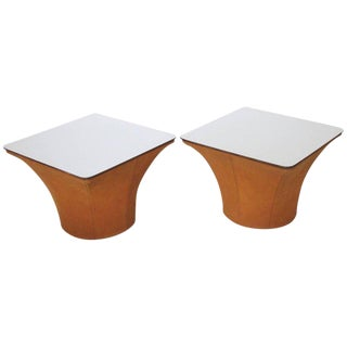 Pierre Paulin Style Mid-Century Modern Mushroom Side Tables - a Pair