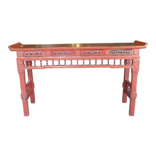 Vintage Chinese Coromandel Red Four Drawer Ming Alter Table For Sale