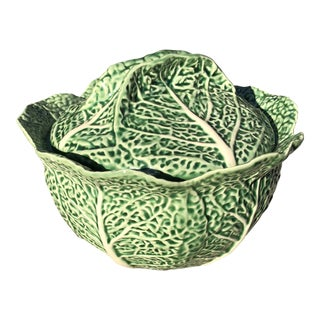 Vintage Majolica Cabbage Leaf Bowl For Sale
