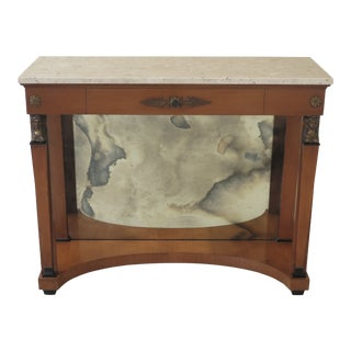 1950s Vintage Js Inc Cabinetmaker Marble Top French Empire Peticote Console Table For Sale