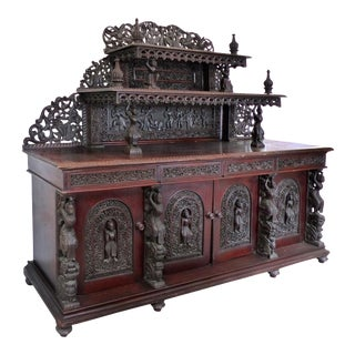 19th Century Burmese Over-Scale Carved Rosewood Anglo-Indian Sideboard For Sale