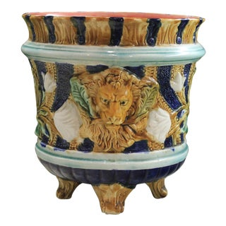 Antique French Majolica Jardiniere Planter Pot Vase For Sale