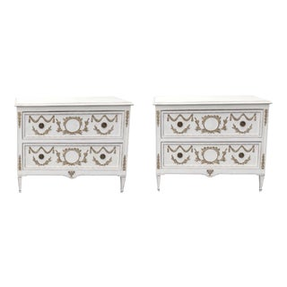 Late 20th Century Pair Painted French Louis the 16th Style Commodes With Swag and Leaf Decoration For Sale