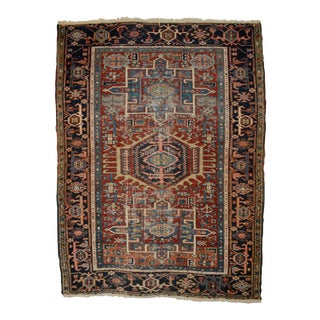 "Antique Shabby Chic Heriz Wool Rug - 3'4"" X 4'7"" For Sale"