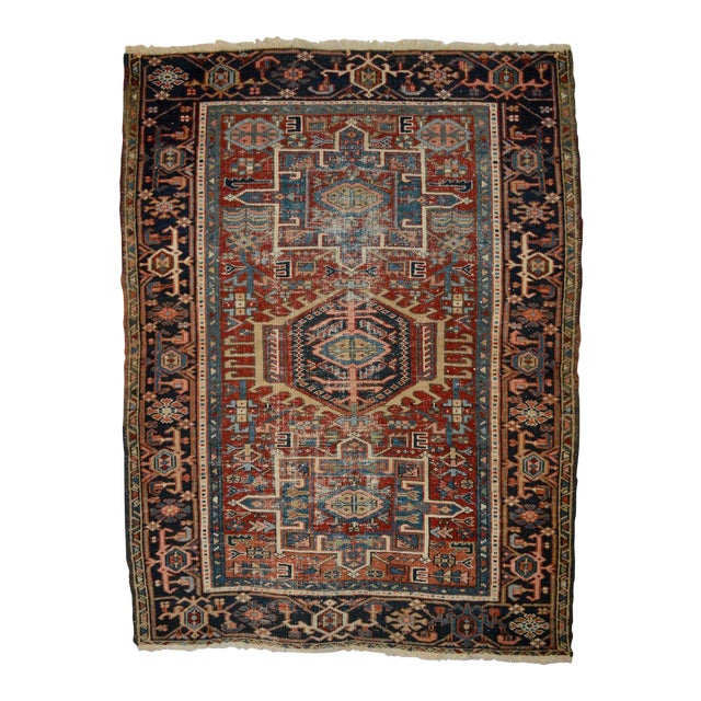"""Antique Shabby Chic Heriz Wool Rug - 3'4"""" X 4'7"""" For Sale"""