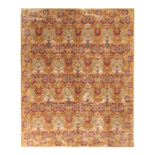 European-Style Floral Rug Gold Red Wool and Silk Rug by Rug & Kilim For Sale