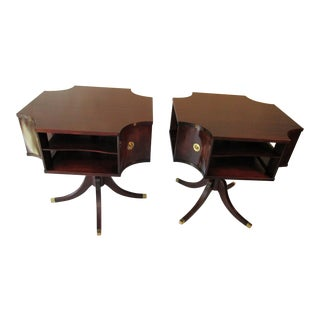 Traditional Mahogany Rotating Library End Tables - a Pair For Sale