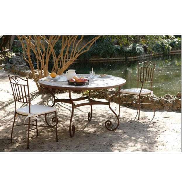 New Garden, Patio or Dining Table in Wrought Iron For Sale - Image 4 of 5