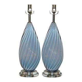 Vintage Murano Opaline Glass Table Lamps Lavender- A Pair For Sale